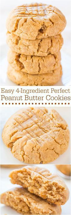 Easy 4-Ingredient Perfect Peanut Butter Cookies - Soft, chewy, and made with an ingredient you'd never guess! I need to try this