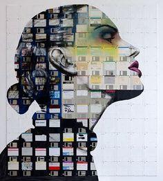 Floppy disc collage. Nick Gentry Art