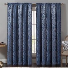 Vcny Home Madeline Traditional Damask 84 inch Length Rod Pocket Top Window Curtains, Multiple Colors Available, Blue
