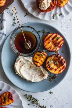 Grilled Peaches With Vanilla Maple Mascarpone #foodphotography #foodstyling