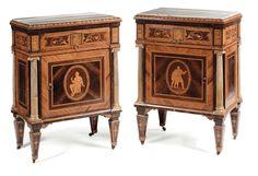 Coppia di cassettoni a tre cassetti, e coppia di comodini en suite attribuiti a Giuseppe Maggiolini,  ...