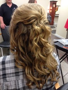 Prom hair/ half up with curls