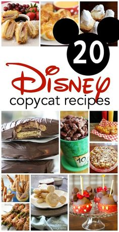 20 Disney copycat recipes you can make at home! Have only been to Disneyland a few times and can's remember any of the food!