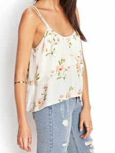 fdab668dea697 White Floral Printed Crossed Spaghetti Straps Layered Vest
