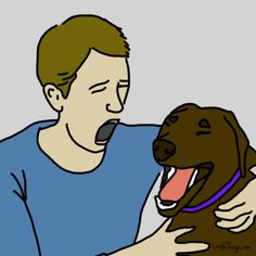 Researchers have found that dogs are likely to yawn after seeing familiar people yawn. So if your dogs yawn in response to yours, it means they love you. Love My Dog, Puppy Love, Animals And Pets, Cute Animals, Education Canine, Dog Barking, Dogs Of The World, Dog Care, Dog Training