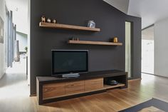 meuble tv Tv Wall Furniture, Tv Unit Furniture Design, Living Room Furniture, Living Room Decor, Tv Wall Design, House Design, Tv Unit Decor, Wooden Tv Stands, Living Room Tv Unit Designs