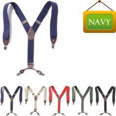 Mens Womens Faux Leather Elastic Suspenders Wide Suit Y-Back 4 Clip Braces NAVY #springsummerfallwinter