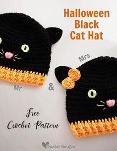 Crochet Halloween Black Cat Hat Free Pattern – Knitting For Beginners Crochet Preemie Hats, Crochet Baby Booties, Crochet Bebe, Crochet For Kids, Crochet Ideas, Hat Crochet, Free Crochet, Crochet Projects, Crochet Animal Hats