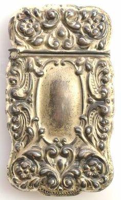 Vintage Sterling Victorian Style Match Safe Case