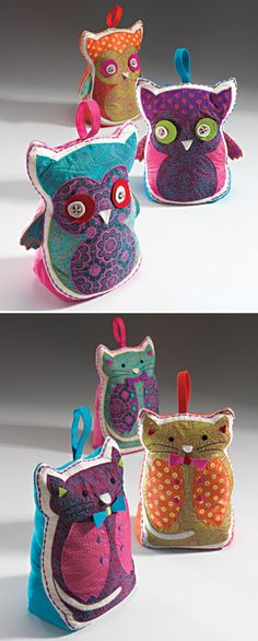 Cat and owl embroidered doorstop