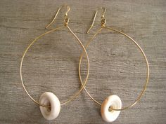 Puka Shell Hoop Earrings, Shell Jewelry, Beach Jewelry