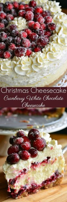 Christmas Cheesecake (Cranberry Jam White Chocolate Mousse Cheesecake) - Amazing CHRISTMAS CHEESECAKE to make your holidays magic. Vanilla bean cheesecake layered with an easy cranberry jam and smooth white chocolate mousse. Chocolate Mousse Cheesecake, Vanilla Bean Cheesecake, White Chocolate Mousse, Cheesecake Recipes, Dessert Recipes, Just Desserts, Cranberry Cheesecake, Mousse Dessert, Gourmet Desserts