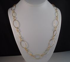 ITALY 24k GOLD over 925 STERLING SILVER TEXTURED & POLISH OPEN LINK NECKLACE  #AuthenticItalianTopQualityCraftsmanship #Chain