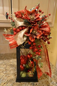 Elegant Red And Gold Lantern Swag by kristenscreations on Etsy