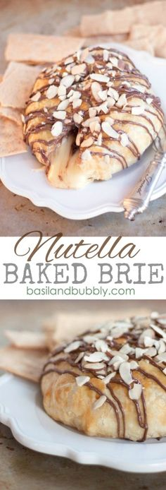 Ooey, Gooey, Nutella Almond Baked Brie Recipe to impress the pants off of your Valentine.
