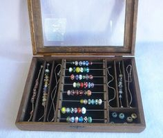 Pandora Bead Hinged Glass Top Bead Box for Storage by yourstoadorn, $70.00
