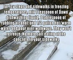 For Icy Steps and Sidewalks In Freezing Temperatures.... http://savetheplanetadvice.wordpress.com/2012/11/25/for-icy-steps-and-sidewalks-in-freezing-temperatures/