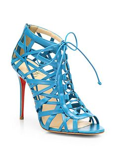 Christian Louboutin Laurence Leather Cage Lace-Up Sandals. Look even better in black. Source SaksFifthAvenue