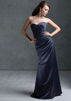 Mori Lee 672 on @Terry Costa - Strapless satin bridesmaids dress from Mori Lee.