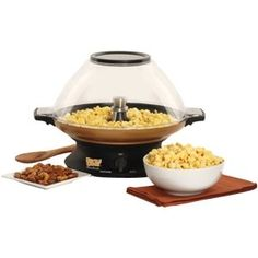 """West Bend Kettle Krazy Popcorn Popper and Nut Roaster. This looks like an updated version of the """"Stir Crazy"""" popcorn popper, and it has a setting for roasting nuts, too. Specialty Appliances, Kitchen Appliances, Kitchen Gadgets, Kitchen Stuff, Kitchens, Stir Crazy Popcorn, Hot Air Popcorn Popper, West Bend, Kettle Corn"""