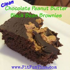 Clean chocolate peanut butter black bean brownies. Gluten free and can be used with the 21 Day Fix!