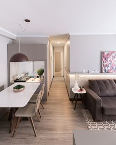 Apartamento Sob Medida || Ambientta Arquitetura 2 Storey House Design, Home Room Design, New Room, House Rooms, Interiores Design, Sweet Home, Living Room, Table, Furniture