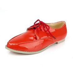 de7e523d0d37 AmoonyFashion Womens Closed Pointed Toe Low Heel Patent Leather PU Material  Solid Pumps Red 9.5 BM