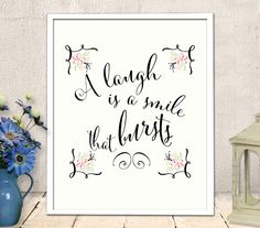 Printable Art -  Nursery art printable, inspirational quote, a laugh is a smile that burst, INSTANT DOWNLOAD (72)