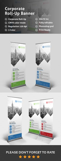 Buy Corporate Roll-up Banner by Pixelpick on GraphicRiver. Corporate Roll-up Banners perfect for Corporate Business Advertisement, can be used for other business too. Signage Design, Banner Design, Flyer Design, Elegant Business Cards, Cool Business Cards, Corporate Business, Creative Brochure, Creative Flyers, Standee Design