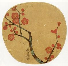 Japanese fan with a painting of plum blossoms