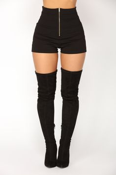 Available In Black High-Rise Full Stretch Ponte Fabric Back Elastic Waist Insert Front Gold Zipper Detail Front Seam Detail Super High Waist Rayon Nylon Spandex Made in USA Teen Fashion Outfits, Stage Outfits, Cute Fashion, Trendy Fashion, Cute Casual Outfits, Edgy Outfits, Looks Black, High Rise Shorts, Character Outfits