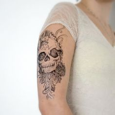 Temporary Tattoo  Large Skull Floral Tattoo Sleeve by Siideways