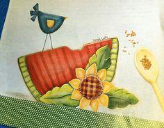 Passo a Passo - Pano de Copa - Pássaro com Melancia - Soraia Leite - Pintura Country, Pintura em Madeira, Pincéis Importados, Tintas, Kits