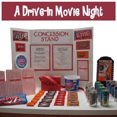 Driv in movie party ideas. A concession stand for the kids to get their party snacks.