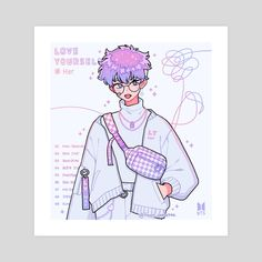 This is a gallery-quality giclèe art print on cotton rag archival paper, printed with archival inks. Arte Do Kawaii, Kawaii Art, Cute Art Styles, Cartoon Art Styles, Aesthetic Drawing, Aesthetic Anime, Character Art, Character Design, Fanart Bts