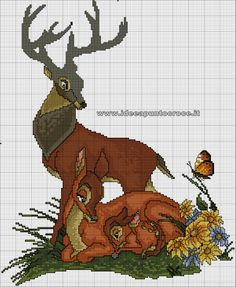 Bambi and parents Kawaii Cross Stitch, Cross Stitch Baby, Cross Stitch Animals, Cross Stitch Kits, Cross Stitch Charts, Cross Stitch Designs, Disney Cross Stitch Patterns, Counted Cross Stitch Patterns, Cross Stitch Embroidery