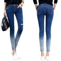 2016 Hot Sale Women Jeans Skinny Hole Ripped Pencil Pants Casual Mid-waist Elastic Femme Denim Pants Korean Style Lady Trousers