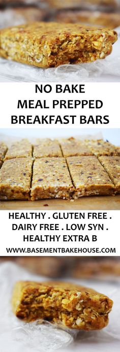 These Healthy No Bake Meal Prep Breakfast Bars are the perfect way to start the day! Gluten Free, Dairy Free, Vegan and Slimming World friendly. Use as your Healthy Extra B plus syns on Slimming World - Basement Bakehouse paleo breakfast meal prep Breakfast Bars Healthy, Slimming World Breakfast, Breakfast Recipes, Slimming World Meals, Meal Prep Breakfast, Slimming World Healthy Extras, Baked Oats Slimming World, Carb Free Breakfast, Slimming World Flapjack