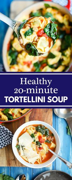 Healthy tortellini soup with tomatoes, white beans, and spinach, ready in one pot in just 20 minutes, a no-fail recipe for busy weeknight dinners! #weeknightrecipes #soup