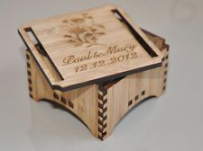 Personalised CUSTOM RING BEARER BOX RUSTIC BAMBOO WOOD Laser Cut WEDDING
