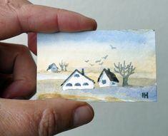 Original, mini watercolor painting, landscape by artist Ilse Hviid, white house, tree, tiny aquarelle, small painting,  dolls house painting by IlseHviid on Etsy