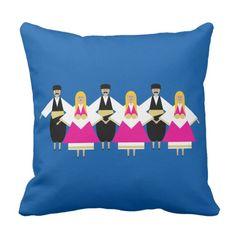 Trikeri Greece Dancers Throw Pillow #trikeri #greece