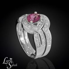 Oval Pink Tourmaline Wedding Set with Diamond Halo and Contoured Diamond Wedding Band - LS3569