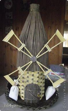 Игрушка Поделка изделие Новый год Плетение Шитьё Подробней о крыше мельницы и кое-что в нагрузку Краска Салфетки Ткань Трубочки бумажные фото 1