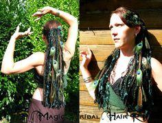 PEACOCK feather elf fairy pixie YARN hair FALLS by MagicTribalHair, €57.00
