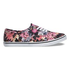 The Floral Mix Authentic Lo Pro, a low top lace-up with a slim silhouette, features printed canvas uppers with low sidewalls, metal eyelets, and low profile micro waffle outsoles for a lightweight feel.