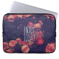 "Cool Girly Pink Roses Vintage ""Enjoy Today"" Photo Laptop Computer Sleeves"