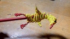 kachna z korálků na tužku/ duck of beads on pencil