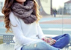 Chunky scarf, sweater, faded jeans