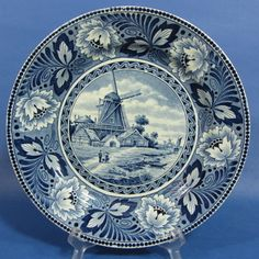 E949 Windmill in Dutch Landscape on 9¼ Delft Blue Wall Plate SCM
